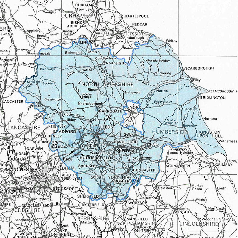 A map of Yorkshire with the area around York removed to show where customers have a different water rate.