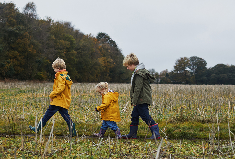 Kids walking in a field