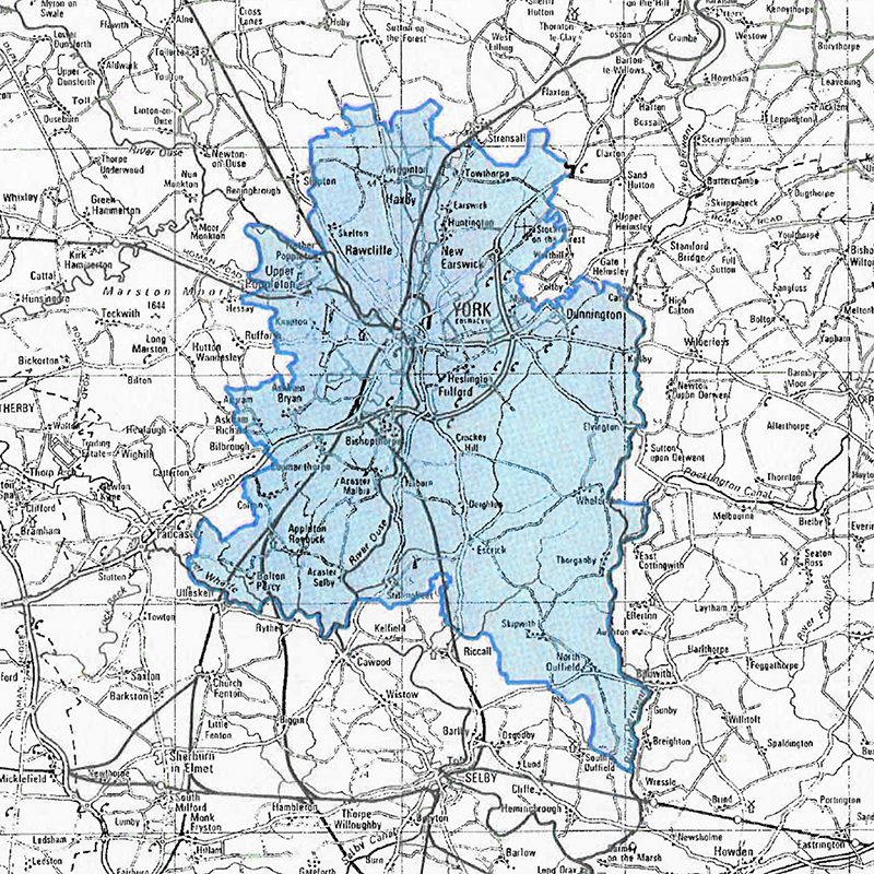 A map of the boundary around York where customers have a different water rate to other Yorkshire Water customers.